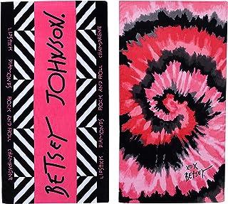 Betsey Johnson Home | Beach Towel 2pc Set 100% Cotton, Super Soft & Absorbent, Fade-Resistant, Medium-Weight, 68 x 36, Tie Dye Love & Betsey Johnson