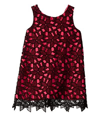 Milly Minis Kat Bow Back Shift Dress (Toddler/Little Kids) (Black/Fuchsia) Girl