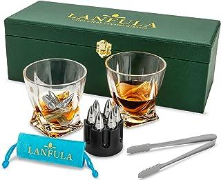 LANFULA Whisky Gläser und Steine Set in Geschenkbox aus Leder, 2 Whisky Gläsern 300ml  6 Wiederverwendbare Edelstahl Ice Bullets Kühlsteine Rocks, Luxuriös Geschenk