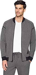 Peak Velocity Men's Metro Fleece Full-Zip Athletic-Fit Bomber Jacket