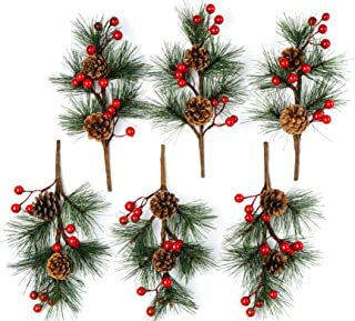 CraftMore Pine Pick with Berries and Pine Cone Set of 6