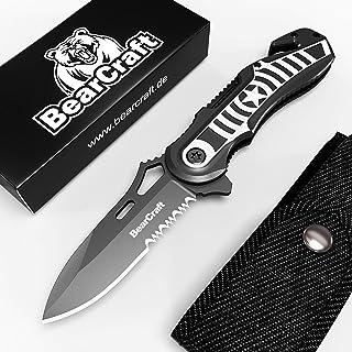 BearCraft Cuchillo Plegable en diseño Exclusivo con ** eBook Gratis ** | Cuchillo serrado de Supervivencia al Aire Libre | Navaja de Bolsillo con Cortador de cinturón y rompe Cristales.