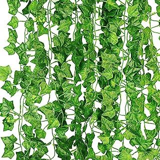 KASZOO 12-pack konstgjorda murgröna girlang falska växter, klätterväxt hängande girlang, hängande för hem kök trädgård kon...