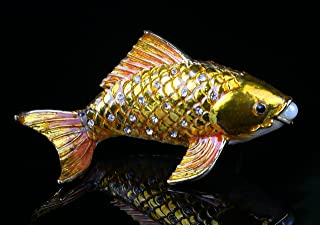 Promotion Fish Figurine Art Souvenir Crystal Cute Fish Jewelry Ring Holding Trinket (Gold)