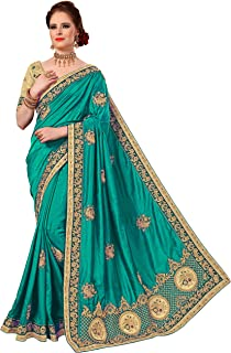 Nivah Fashion Women's Silk Havy-Embroidery Work With Blouse Pice Saree K777