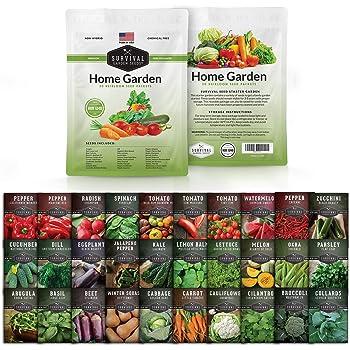 Survival Garden Seeds Home Garden Vegetable Seed Vault - Non-GMO Heirloom Survival Garden Seeds for Planting - Waterproof Packaging for Long Term Storage - 30 Varieties of Vegetables