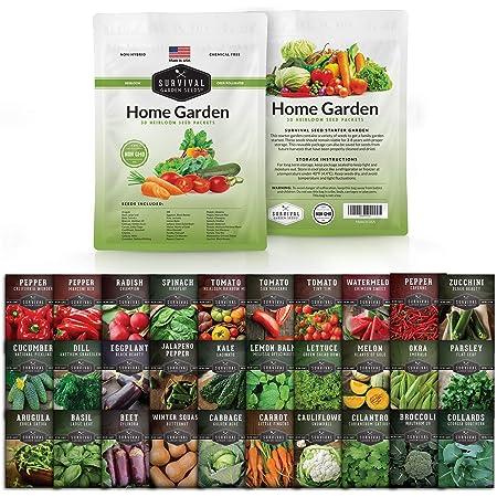 Survival Garden Seeds Home Garden Collection Vegetable Seed Vault - Non-GMO Heirloom Survival Garden Seeds for Planting - Waterproof Packaging for Long Term Storage - 30 Varieties of Vegetables