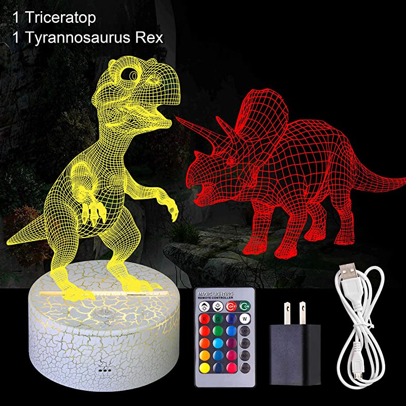 Dinosaur 3D Lamp LED Night Lights For Kids 2 Dino Illusion 7 Colors Changing With Remote Control Perfect Room Decor Dinosaur Gifts For Boys Girls Children Baby