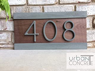 Modern House Numbers, House Numbers Sign, Modern,Wood and Concrete Address Plaque, Custom house Address Sign, Realtor Closing Gift, Personalized Housewarming Gift. H