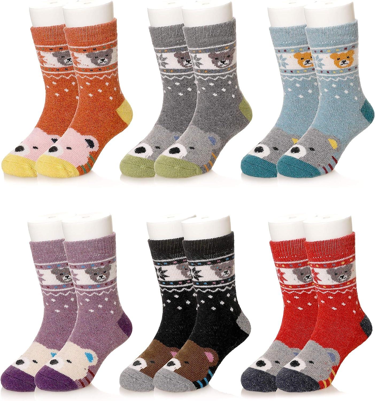 Kids Boys Girls Wool Warm Socks Winter Super Soft Children Thick Cute Animal Toddler Thermal Casual Crew Socks (6 Pairs Bear, 4-7 Years)