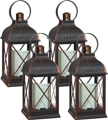 lowest Sunnydaze Setauket Indoor Decorative LED Candle Lantern - Set of outlet sale 4 - Rustic Vintage Flameless Light for outlet online sale Living Room, Kitchen, Bedroom and Bathroom - Tabletop Decoration - 10-Inch online