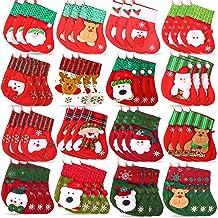 48 Pieces Christmas Tree Mini Stockings Xmas Stocking with Santa Claus Snowman Elk Pattern Christmas Hanging Stockings Chr...