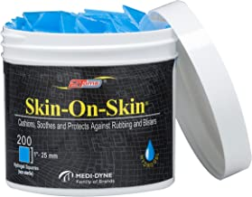 """2Toms Skin-On-Skin Soothing Hydrogel Square Pads for Blister Protection and Skin Pain Relief, 200 Squares (1"""")"""