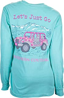 Southern Couture Comfort Long Sleeve Fit Let's Just Go Adult T-Shirt Chalky Mint