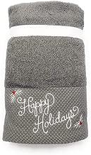 Sophia Set of 2 Embroidered Happy Holidays Christmas Hand Towel Set for Christmas Holiday Bathroom & Home Decor