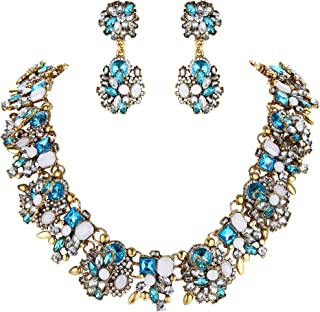 Clearine Women's Necklace Dangle Earrings Set Tribal Ethnic Crystal Mix-Shape Cluster Statement