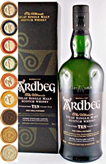 Ardbeg Ten Islay Single Malt Whisky mit 9 Edel Schokoladen in 9 Sorten