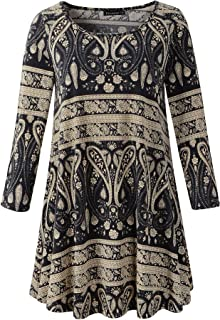 Women's Plus Size Swing Tunic Top 3/4 Sleeve Floral Flare...