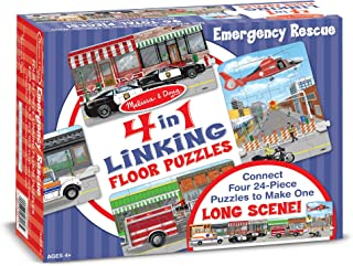 Melissa & Doug Rescue Vehicles 4-in-1 Jumbo Linking Jigsaw Floor Puzzle
