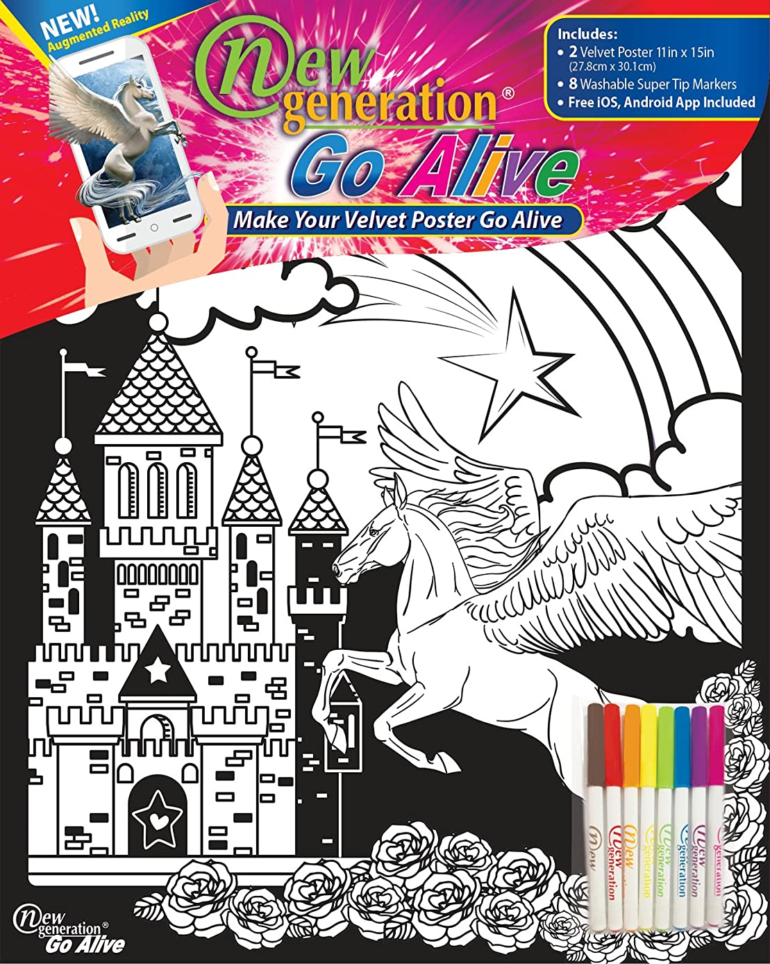 New Generation GO Alive - Unicorn Coloring Velvet Art Posters 2-Pack Set of 11x15 Inch Color in Posters | 8 Super Tip Washable Markers Included | Unicorn Value Pack Fuzzy Posters Great Gifting idea