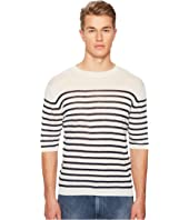 eleventy - Striped Linen Crew Neck T-Shirt