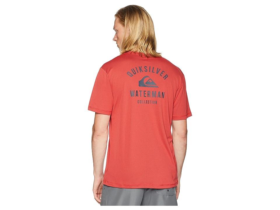 Quiksilver Waterman Gut Check Amphibian Short Sleeve Rashguard (Cardinal) Men