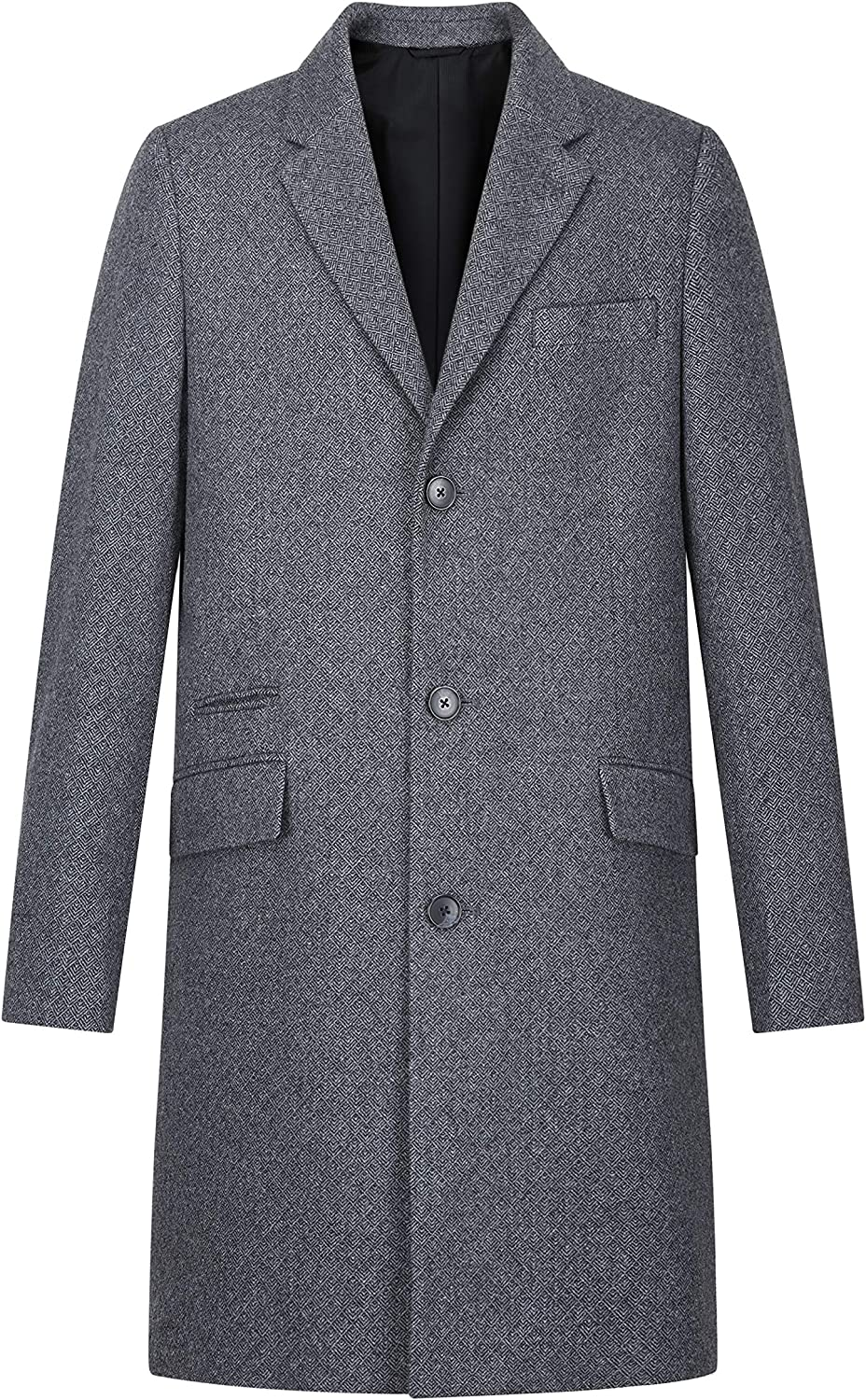 AIYIMEI Men Wool Coat Mens Classic Notched Collar Single Breasted Wool Blend Long Overcoat