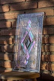 Mexicolour Tiffany Style Stained Glass Window Door Insert Beveled Diamond & Swirls Elegance
