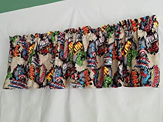 Marvel Comic Curtain, Comic Burst Short Curtain Valance, Superhero Curtain, Thor, Captain America, The Hulk, Iron Man, Spider-Man (41 Inches Wide x 15 Inches Long)