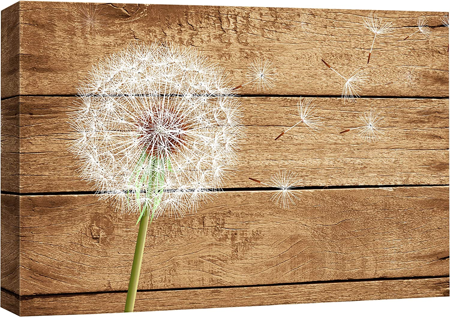 wall26 - Dandelion on Vintage Art Inventory cleanup selling Max 90% OFF sale Canvas Wall Wood Background