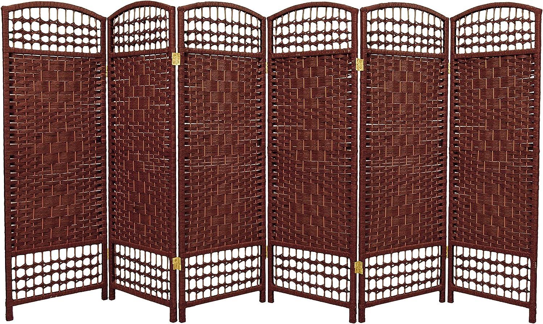 Oriental Furniture Los Angeles Mall 4 ft. Tall Fiber Divider gift Weave - Dark Room Re