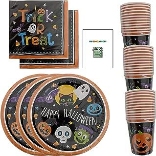 Halloween Party Supplies Paper Plates Napkins Cups Bulk Disposable + Bonus Recipe for Kids Serves 36-108 pcs