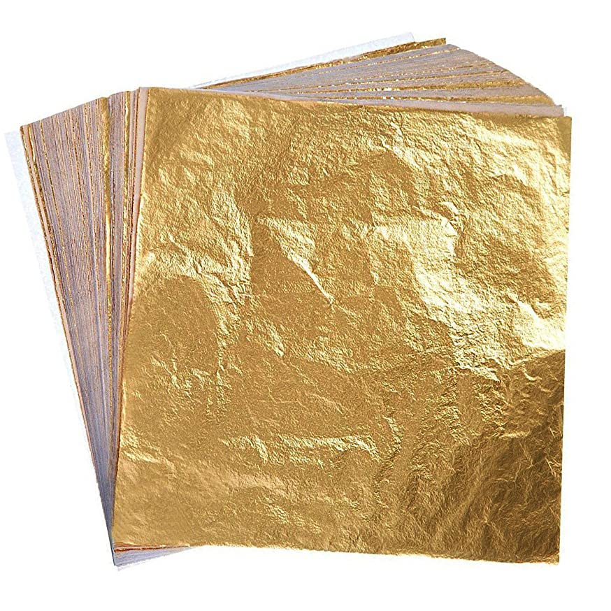 Hulless 300 Sheets Gold foil Paper Imitation, Gold Leaf for Arts, Crafts Decoration, Gilding Crafting DIY Art Crafts Decoration.