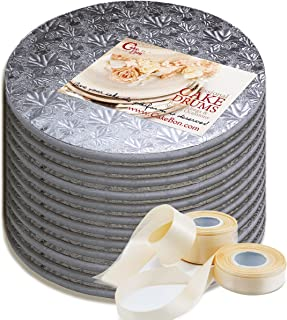 Cake Drums Round 12 Inches - Sturdy 1/2 Inch Thick - Professional Smooth Straight Edges - FREE Satin Cake Ribbon (Silver, 12-Pack)