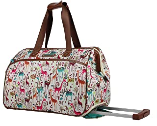 Lily Bloom Luggage Designer Pattern Suitcase Wheeled Duffel Carry On Bag (14in, Giraffe Park)