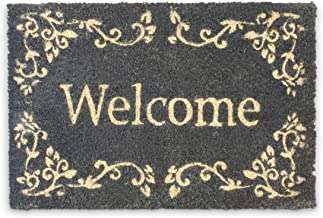 Relaxdays Coconut Fibre Welcome Doormat 40 x 60 cm Coir Welcome Mat with No-Slip Rubber PVC Underside, Black