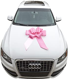 Mavo Rainbow Big Car Bows 23'' Pink and Red Large Ribbon Pull Bows Huge And Beautiful Giant Bow For New Vehicle Birthday Presents ,Weddings And Pretty Decorations with Suction Cup