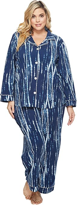 Plus Size Long Sleeve Classic Stretch Knit Pajama Set