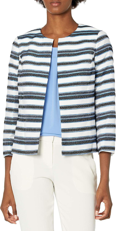 Kasper Women's Novelty Stripe Jewel Neck Jacket with Cropped Sleeve
