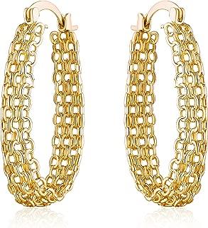 18K Gold Plated Filigree Link Mesh Braided Hoop Earrings (Gold)