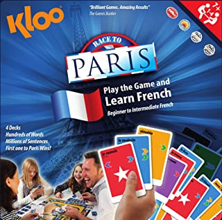 KLOO's Learn to Speak French Language Board Game - Race to Paris (4 Decks)