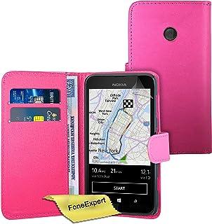 Nokia Lumia 530 fodral, FoneExpert® premium läder bok plånboksfodral för Nokia Lumia 530 + skärmskydd och tyg, Rosa