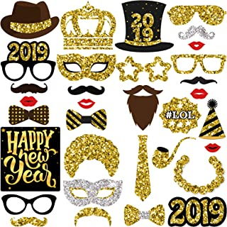 KatchOn New Years Photo Booth Props– Pack of 33, Real Glitter | 2019 New Years Eve Photo Props | Great for New Years Eve Party Supplies 2019 | Happy New Year Party Decorations 2019, DIY Required