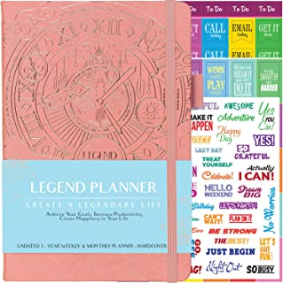 Legend Planner - Deluxe Weekly & Monthly Life Planner to Hit Your Goals & Live Happier. Organizer Notebook & Productivity Journal. A5 Hardcover, Undated - Start Any Time + Stickers - Peach Pink Gold