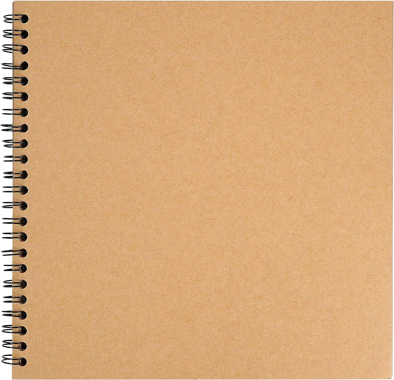 BELLE VOUS Album Fotos Scrapbook (80 Páginas) 20 x 20 cm - Cuaderno Scrapbook en Blanco Hojas de Papel Kraft – Invitados de Boda y Álbum de Recortes – Regalo Hecho a Mano Aniversario y San Valentín