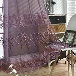 DONREN Dark Purple Leaf Sheer Curtains for Bedroom - Luxury Embroidery Sheer Curtain Panels for Living Room (W 52 x L 84 Inch,2 Panels)