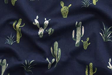Fabric Merchants Double Brushed Poly Jersey Knit Cactus Fabric by The Yard, Navy/Green 5 Yards