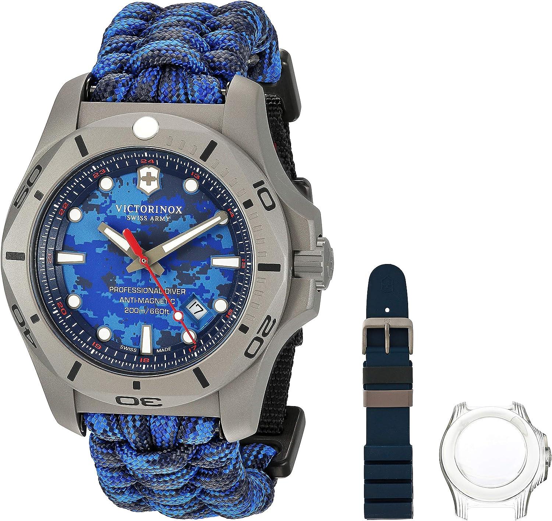 Victorinox Men's I.N.O.X. Titanium SwissQuartz Diving Watch with Nylon Strap, bluee, 22 (Model  241813