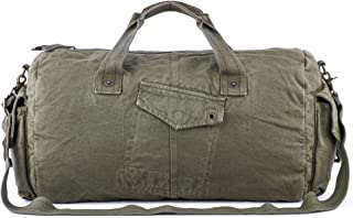 Gootium Canvas Duffel Bag - Vintage Travel Tote Weekend Holdall Sports Gym Bag, Army Green