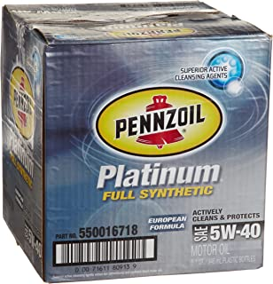 Pennzoil 550016718-6PK Platinum 5W-40 European Formula Full Synthetic Motor Oil - 1 Quart, (Pack of 6)